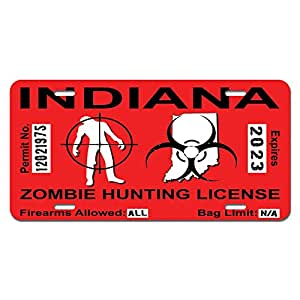Indiana In Zombie Hunting License Permit Red