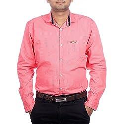 Aaduki Men's Casual Pink Shirt-XXL