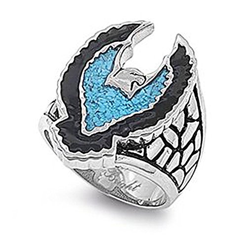 316L Stainless Steel Eagle Ring - Stainless Steel Biker Rings for Men