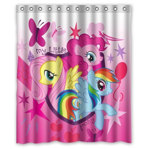 Custom Unique Design Cartoon My Little Pony Rainbow Waterproof Fabric Shower Curtain, 72 By 60-Inch front-284590