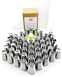 101 Pcs Russian Piping Tips Set - XL 304 Stainless Steel Piping Tips With 50 Nozzle Designs, 50 Disposable Pastry Icing Bags, 1 Tri-Color Coupler - Cake, Cupcake, Pastry Icing Decorating Tool Set