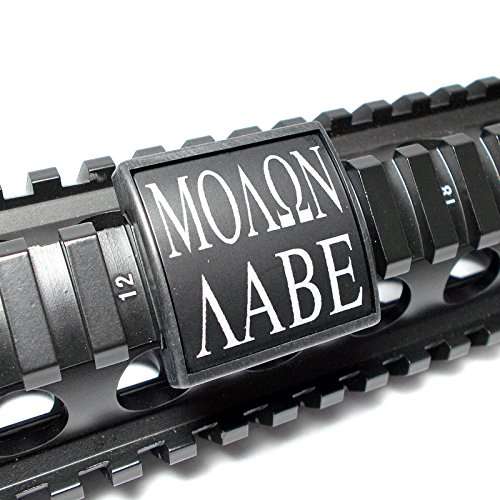 Ultimate Arms Gear Molon Labe Black & White Laser Engraved Aluminum Custom Cover Guard Rail, Small, USA MADE (Rail Covers Custom compare prices)
