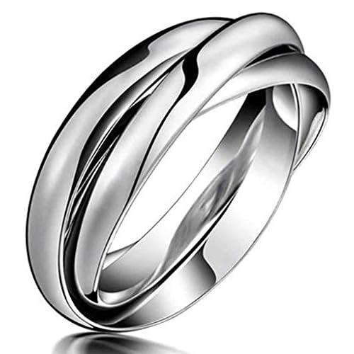 (キチシュウ)Aooazジュエリー ユニセックスステンレスリング指輪 三連のデザイン シルバー 高品質のアクセサリー 日本サイズ19号(USサイズ9号)