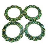 Indian Handheld Mirrors Crafted Material Home Decor Set of 4 Pcs Vanity Cosmetic Mirrors Travel Pouch Purse Lac Beaded Mirrors