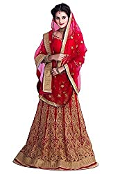 Sky Global Womens Embroidered Georgette Red & Golden Lehenga Choli (Lehnga_131_Free Size_Red&Golden)