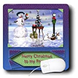 mp_17491_1 Beverly Turner Christmas Design - Snowman with Bunny Friends 3d Merry Christmas to Friend - Mouse Pads