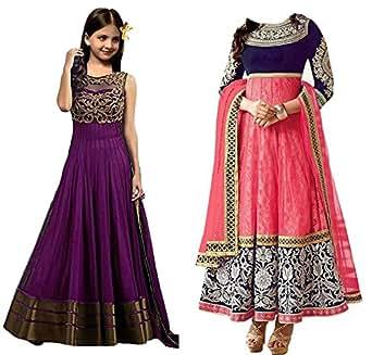 Market Magic World Girl's Banglori & Net Semi Stitched Kids Wear Salwar Suit (Gown)(MMW-09017_Purpel & Pink_Free Size_8 to 12 year age)