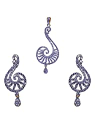 Gehna Silver Alloyed Metal Plated Cubic Zircon Studded Pendant & Earrings Set