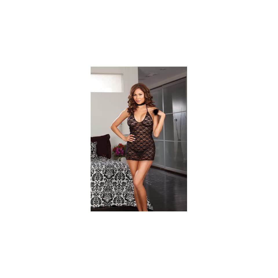 Stretch lace halter chemise w/vinyl accents, thong, neckband & feather tickler ring black qn
