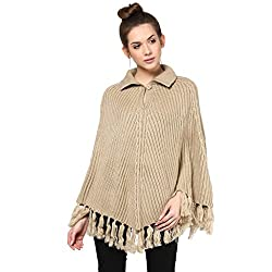 Cayman Light Beige Solid Woollen Poncho