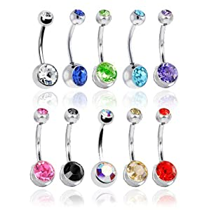 Lot of 10 Double Jeweled CZ Crystal Gem Belly Button Navel Rings 316L Surgical Steel 14 Gauge (10 Pieces)14G 3/8