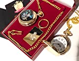 24K Gold RAF Pocket Watch and Keyring Luxury Gift Set Royal Air Force Crest Emblem Special Limited Edition