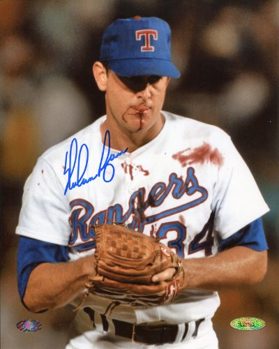 Autographed Photo of Nolan Ryan with Bloody Lip