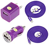 Car & Home Charger Kit for iPhone 6 6 Plus 5 5C 5S, iPad 3 4, iPad Mini, iPod Touch 5/Nano 7, 8 pin to USB, Include: (1) 3ft lightning cable, (1) 6ft lightning cable, (1) Car Charger, (1)Travel Charger (Purple)