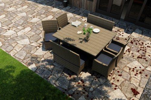 Forever Patio Hampton 7 Piece Outdoor Rattan Square Dining