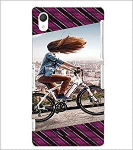 PrintDhaba Girl Bicycling D-3946 Back Case Cover for SONY XPERIA Z2 (Multi-Coloured)