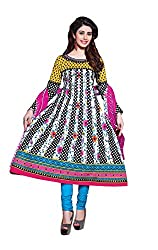 Pruthu Anarkali Dress Material, Cotton, Printed, Unstitched (pa_10_Multi-Colour_Free Size)