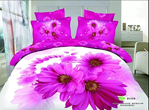 Queen Size 100% Cotton 4-Pieces 3D Rose Red Purple Sunflowers White Floral Prints Duvet Cover Set/Bed Linens/Bed Sheet Sets/Bedclothes/Bedding Sets/Bed Sets/Bed Covers/5-Pieces Comforter Sets (5) front-1061998