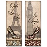 WallsThatSpeak 2 Travel in Style Animal Print High Heel Pumps Shoes Fashion Classy Art Prints Paris London, 6 by 18-Inch, Beige Reviews