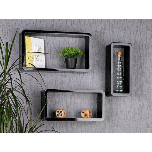 Zeitungsständer Wand Aus Holz ~ 3er Set CD Regal  Wand Board in hochglanz schwarz lackiert