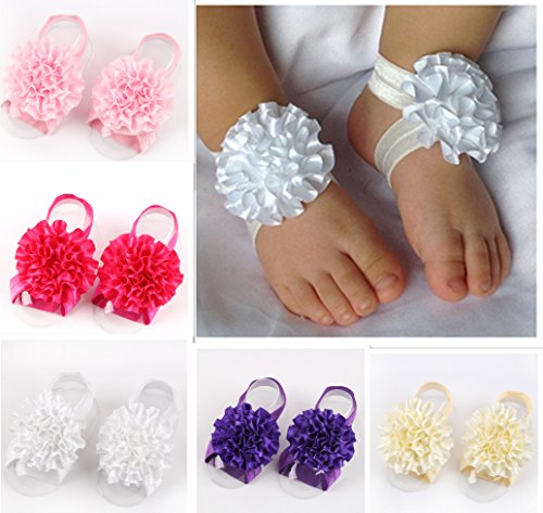 Qandsweet Baby Girl Toddler Beautiful Barefoot Accessories Foot Flowers (6pack)