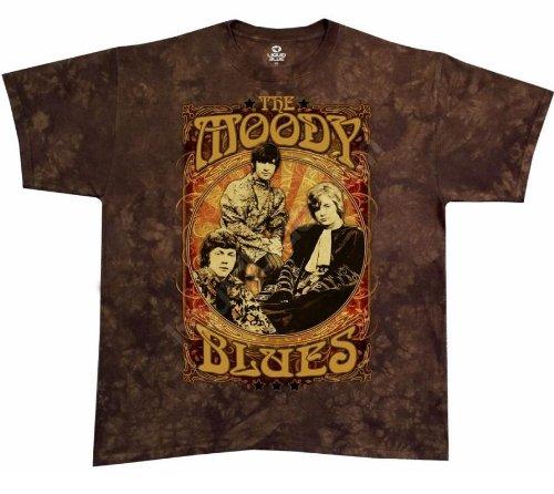 Moody Blues vintage 'Poster' brown Tie Dye t-shirt (X-Large)
