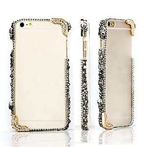 Design Halloween Nice Gift Black Skull Rivet with Chain Crystal Transparent Hard Case Cover for Iphone 6 Match One Piece Screen Protection Film Guard by LOTW