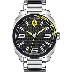 Scuderia Ferrari Watches Gent's Aeroevo Silver Steel Watch With Black Dial