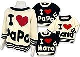 (アイラブパパアンドママ)【I lovePaPa&Mama】 アイラブパパ&ママ アクリルニット モール編みセーター 80cm/90cm/95cm 90 パパブラック ランキングお取り寄せ