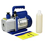 Zeny® 3,5CFM Single-Stage 5 Pa Rotary Vane Vacuum Pump 3 CFM 1/4HP HVAC Air tool R410a R134, blue (#01)