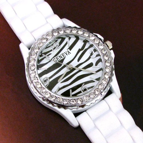 Zebra Silicone Watch with Rhinestones Large Face White Soft Flexible Band