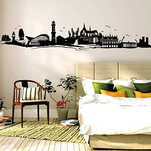 wandtattoo loft rostock skyline warnem nde ostsee wandtattoo 54 farben 3 gr en. Black Bedroom Furniture Sets. Home Design Ideas