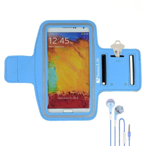 Sumaclife Armband - Sky Blue Sport Workout Neoprene W/ Key & Earphone Holder For Samsung Galaxy Note 3 & 2 Android Phone + Blue Handsfree Microphone Headphones