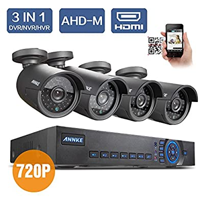 ANNKE 4ch 720P DVR Recorder with 4x HD 1.0 MegaPixels Surveillance Cameras