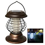 AGPtek Indoor Outdoor Wireless Solar Power Mosquito Killer UV Lamp, Insect Pest Bug Zapper Sensor Light for Camping, Fishing or Hiking -- 2 Light Modes with 360-400mm ray of light (Tan, 1 Pcs)