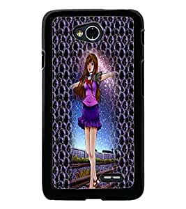PrintDhaba Cute Girl D-4998 Back Case Cover for LG L90 (Multi-Coloured)