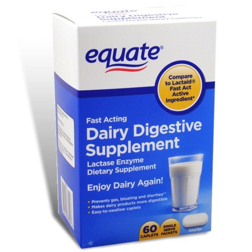 Equate - Dairy Digestive Supplement, 60 Caplets, Lactase Enzyme, Compare to Lactaid Fast Act