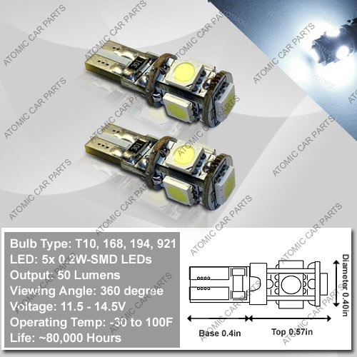 Hi-Intensity 360° Canbus Led Bulbs (5X0.2W) - 168/194/921/T10 Type, White (Pair)