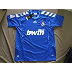 08-09 REAL MADRID HOME JERSEY + FREE SHORT (SIZE XL)