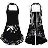 Hyzrz Hot Black Cute Girls Bowknot Lady's Kitchen Restaurant Women's Cake Apron with Pocket