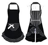 Hyzrz Hot Black Cute Girls Bowknot Lady's Kitchen Restaurant Women's Cake Apron with Pocket
