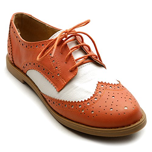 Ollio Women's Flat Shoe Wingtip Lace Up Two Tone Oxford(6.5 B(M) US, Orange)