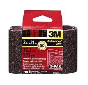 3M 9266NA Heavy Duty Power Sanding Belts - Coarse 50g, 3-Inch x 21-Inch 2-pack
