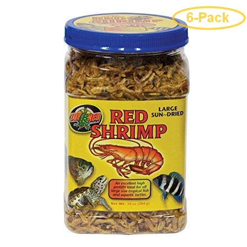 Zoo Med Large Sun-Dried Red Shrimp 10 oz - Pack of 6