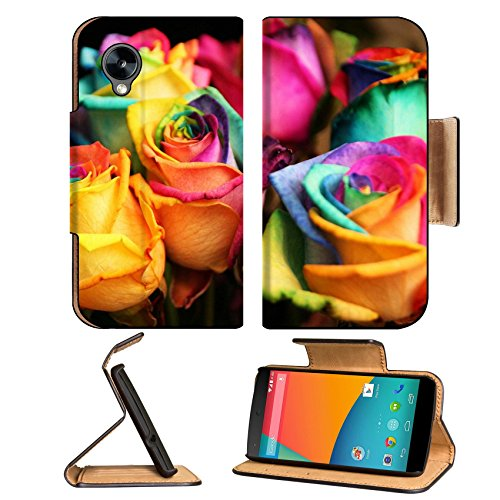 Rainbow Color Rose Bouquet Bunches Google Nexus 5 Hammerhead Lg Flip Case Stand Magnetic Cover Open Ports Customized Made To Order Support Ready Premium Deluxe Pu Leather 5 11/16 Inch (145Mm) X 2 15/16 Inch (75Mm) X 9/16 Inch (14Mm) Msd Nexus Cover Profes