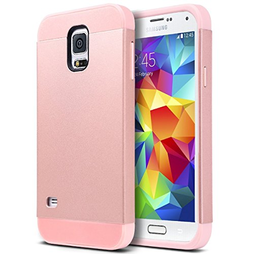 Galaxy S5 Case, S5 Case, ULAK 2in1 Hybrid Dual Layer Slim Protective Case Cover for Samsung Galaxy S5 / Galaxy SV / Galaxy S V / Galaxy i9600 2014 (Plastic Hard Shell and Flexible TPU) Rose Gold (Galaxy S5 Protective Case Gold compare prices)