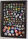 Lapel Pin, Button, Medal, Jewelry Display Case Shadow Box, with Glass Door – Cherry Finish…