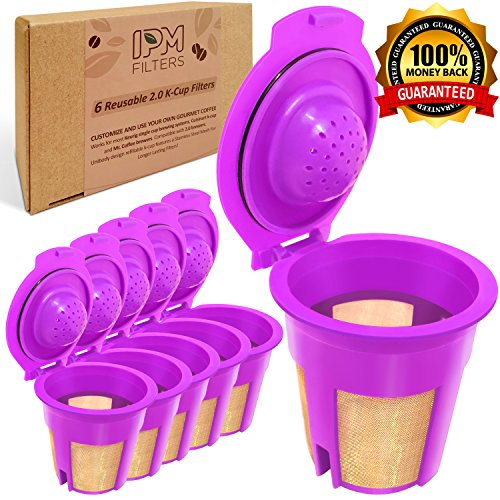 IPM Filters Gold 6 Refillable/Reusable Gold Plated K-Cups, Coffee Filters for Keurig 2.0, K200, K250, K300, K350, K400, K450, K500, K550, K560 and all 1.0 Brewers (Money Back Guarantee) (Reusable K Cup For Mr Coffee Kg5 compare prices)
