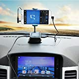 VicTsing Smartphone Car Kit Car Mount holder + USB Charger + FM Transmitter + Handsfree with Micro SD/TF Card Reader Slot for iPhone 5S 5C 5 4S 4 iPod Touch MP3 Samsung Galaxy S3 S4 S5 Note 2 3 HTC One M7 M8 Sony Xperia Z2 Z1 L39H Z L36h Nokia Blackberry