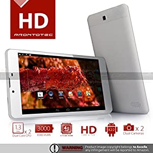ProntoTec 7'' Dual Core Dual SIM Unlocked PhoneTab K1 Android 4.2 Tablet PC, Dual Camera, HD 1024x600, 4GB, Google Play Pre-loaded, 3G+WI-FI Supported ?White
